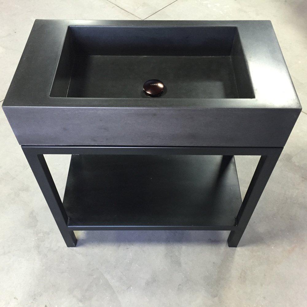 Concrete Trough Sink on Steel Base