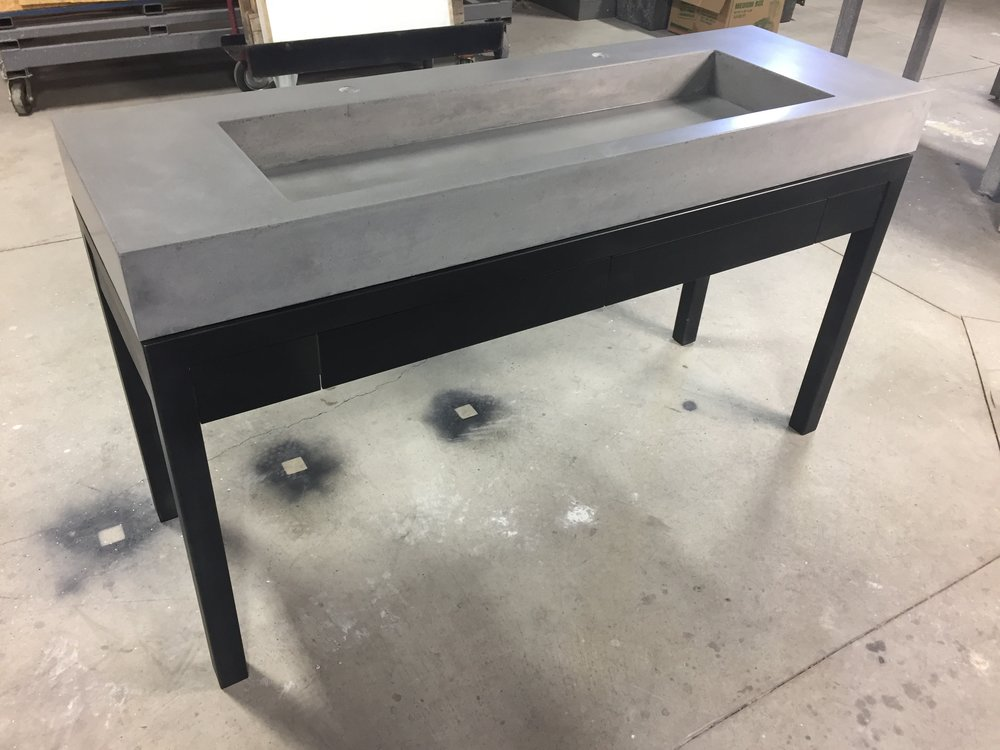 Trough Vanity with Steel Drawers