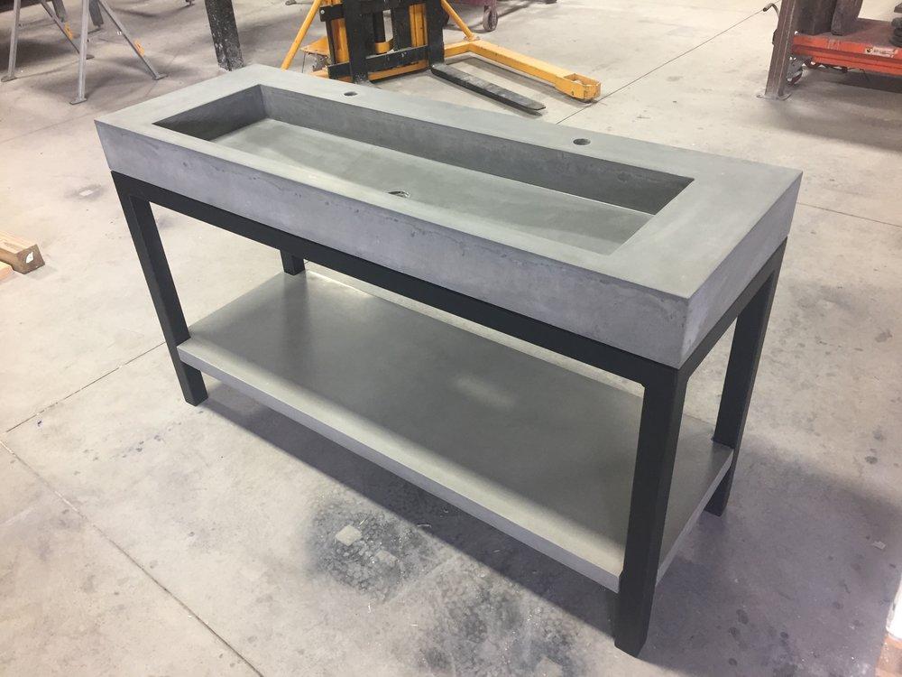 Concrete Trough Vanity with Shelf