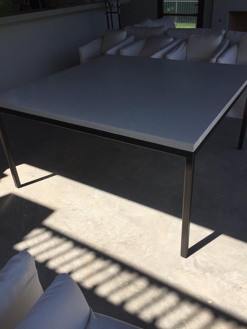 WHITE CONCRETE PARSONS TABLE