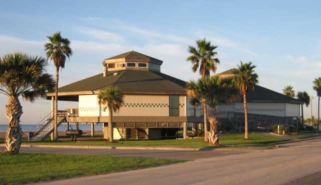 The Beachfront Pavilion is nearly 1000 sq. ft. with seating for up to 85 guests. It's located on the beach facing Aransas Bay and has its own private restroom