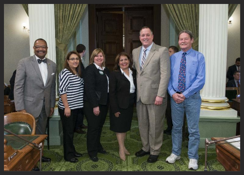 Pictured from left are Assemblyman Reggie Jones-Sawyer; Lesly Pineda, Tulare Adult School; Larriann Torrez, CCAE State Board President; Assemblywoman Patty Lopez; Chris Nelson, CCAE Past President; Brian Kelley, Tulare Adult School.