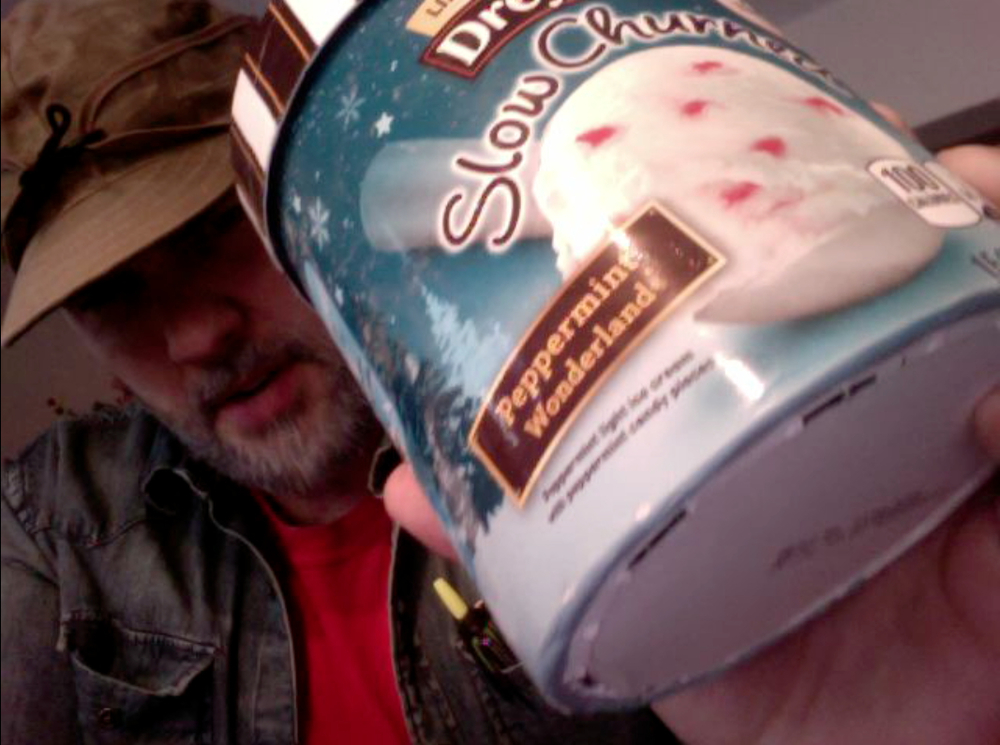 "Dwayne Dryer showing you the Dreyer's ""Peppermint Wonderland"" ice cream he's reviewing."
