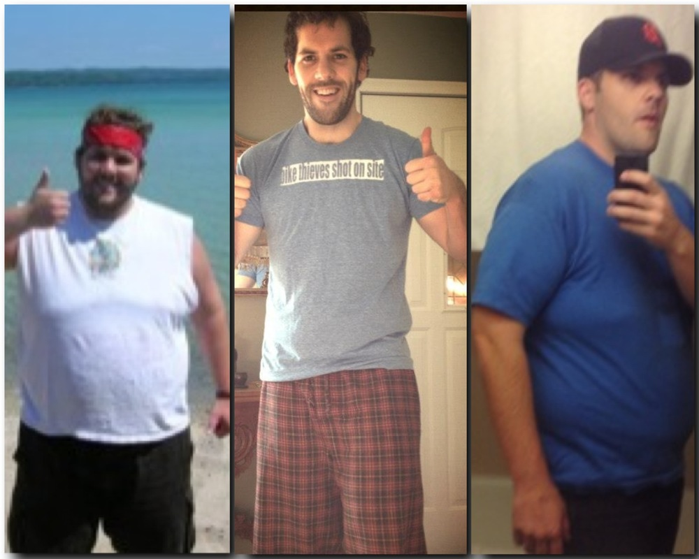 Left: Before (over 320 lbs). Middle: After (200 lbs). Right: AfterAfter (over 260 lbs)