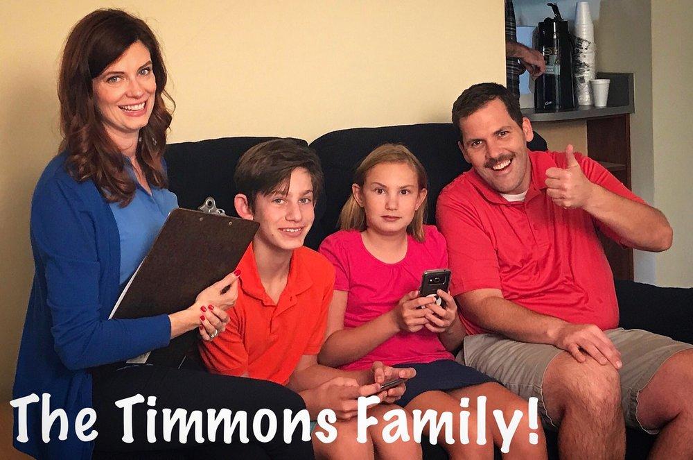 The Timmons Family: Caitlin Norton, Curtis Schurer, Camille Schurer and Jamen Spitzer.