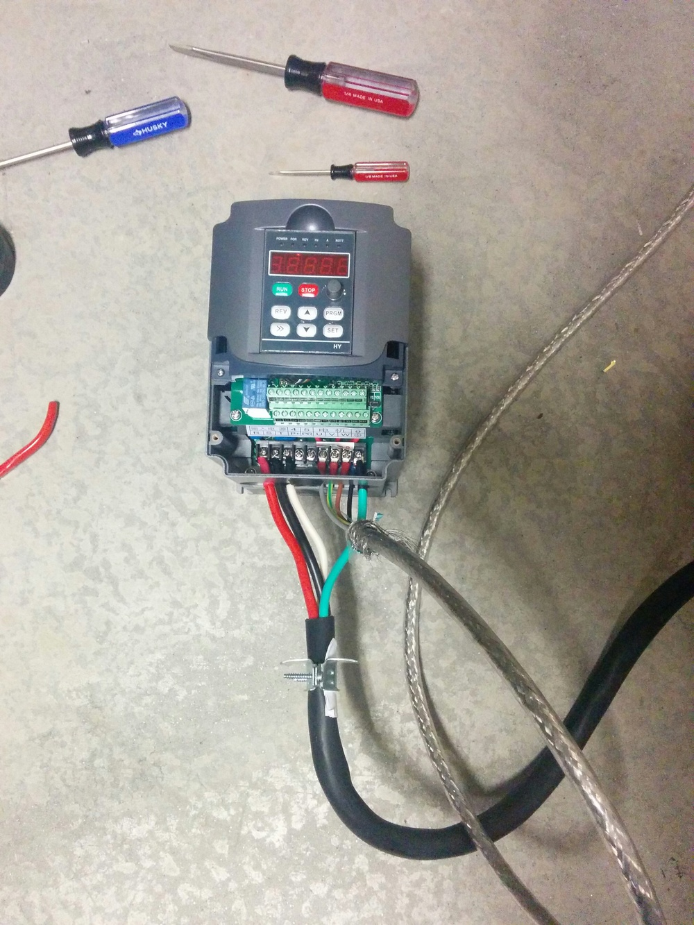 Setting Up A Huanyang Vfd For Cnc Router Spindle The Half Baked Wiring 110v Plug Shield Has Not Yet Been Hooked To Ground
