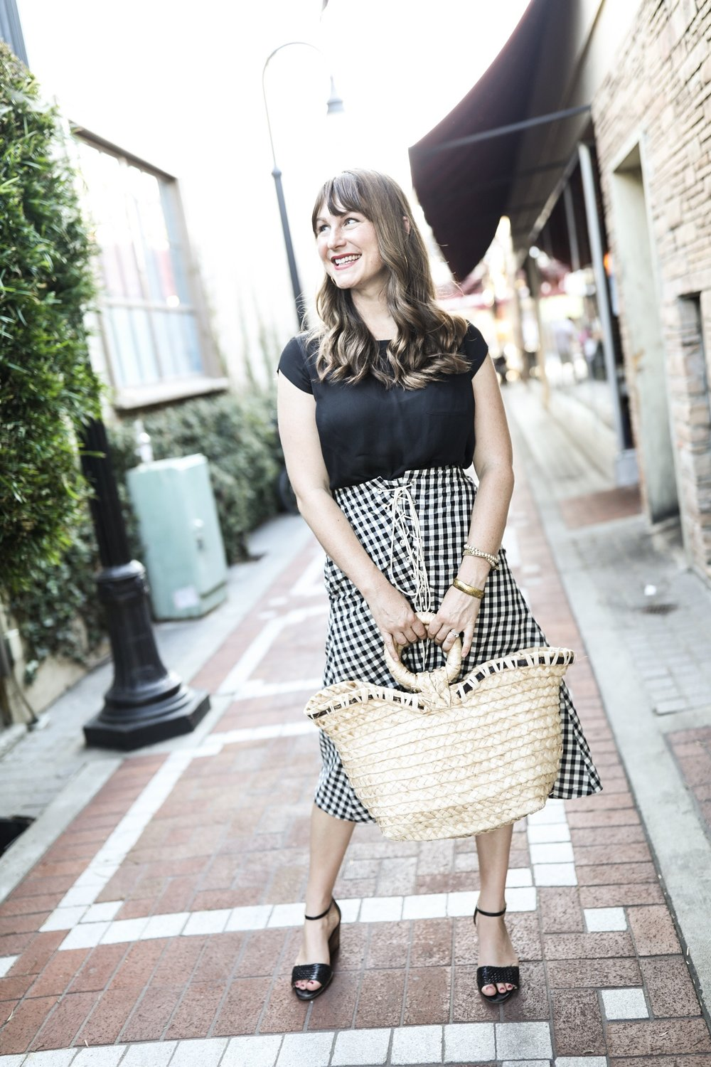 Ethical Outfit | Black and White Gingham Skirt by Eva Franco (Made in USA) | Birds of a Thread