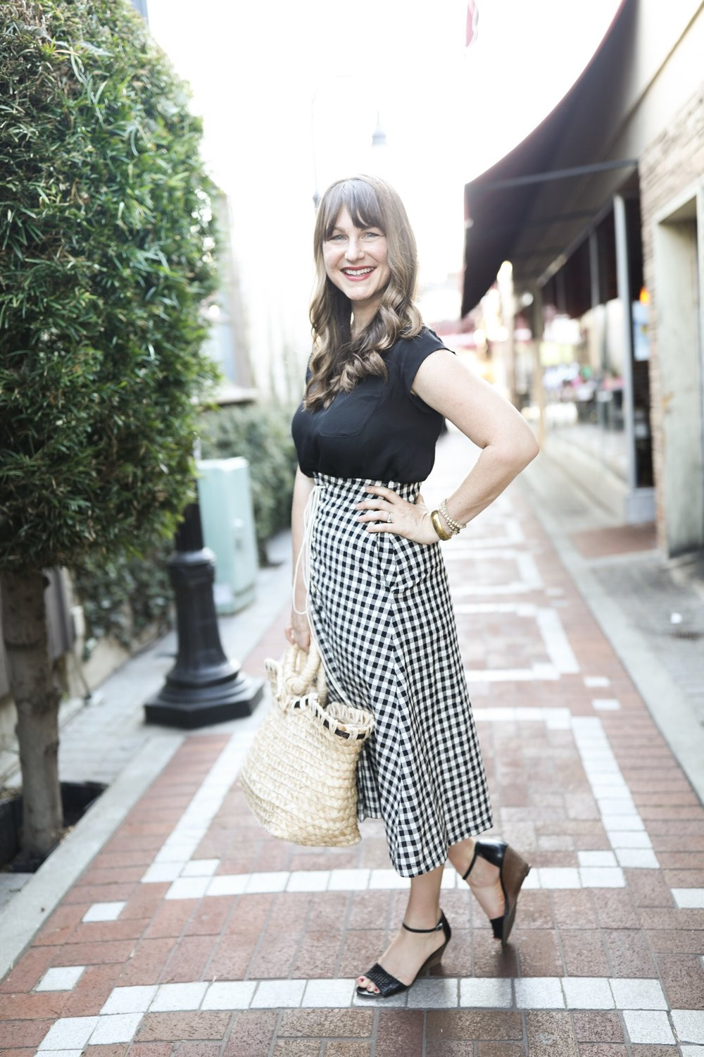 Black and White Gingham Skirt by Eva Franco (Made in USA) | Birds of a Thread