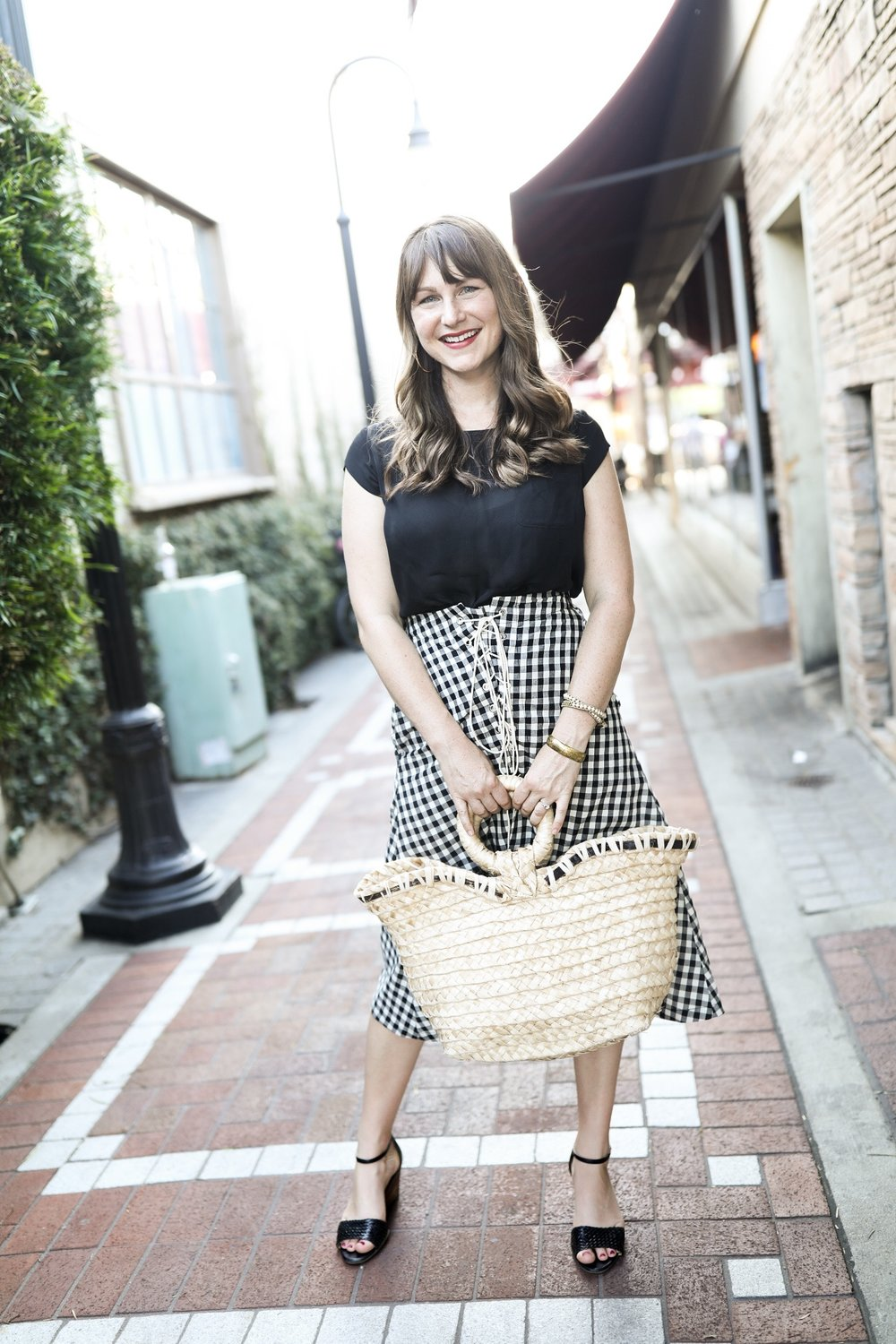 Indego Africa Bag (Fair Trade) and Black and White Gingham Eva Franco Skirt (Made in USA) | Birds of a Thread