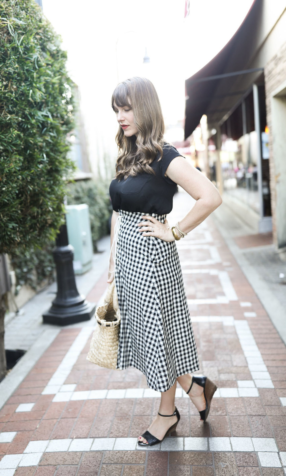 Black and White Check Gingham Skirt by Eva Franco (Made in USA) | Birds of a Thread