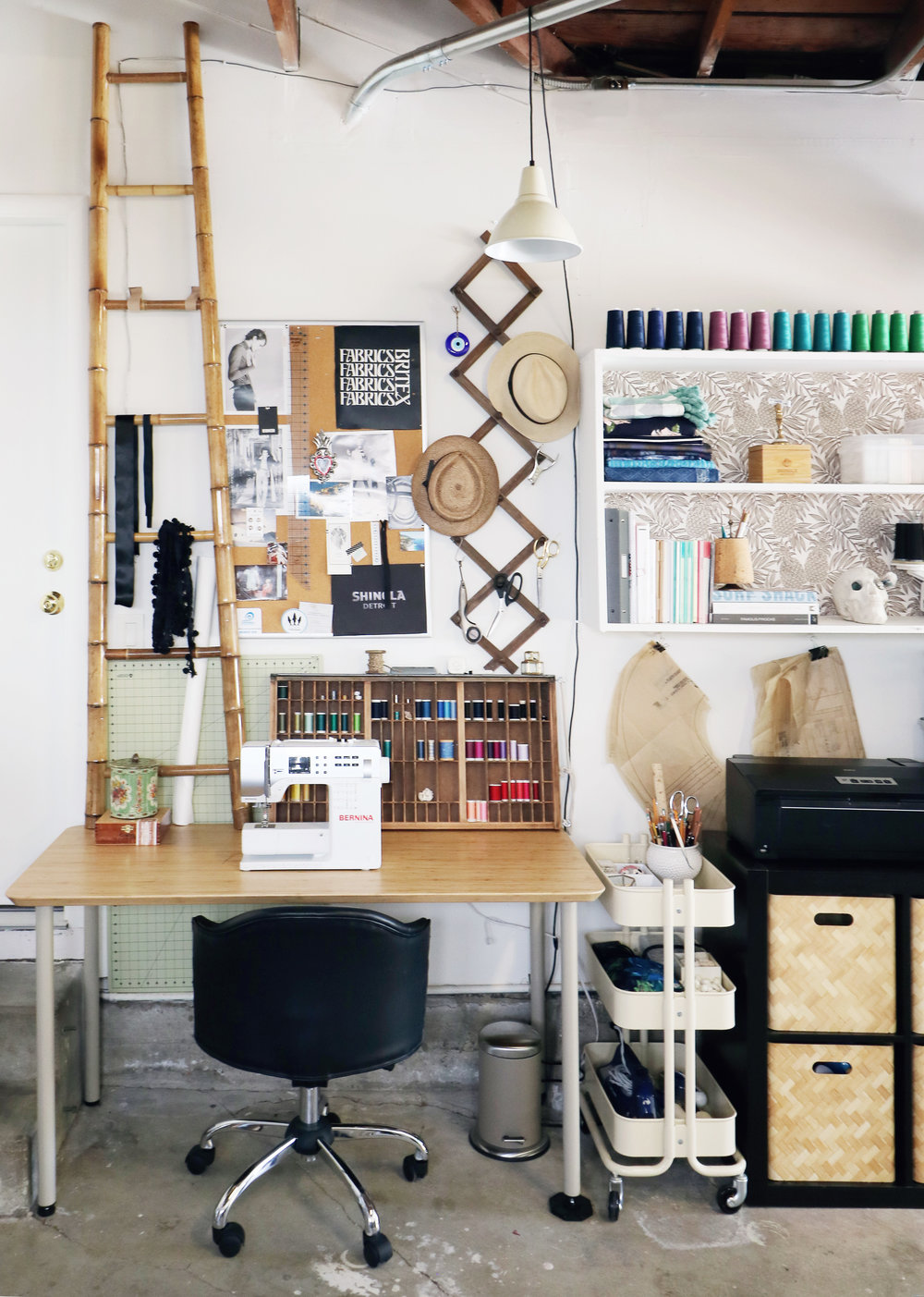 Sewing Room in the Garage | Ikea Desk