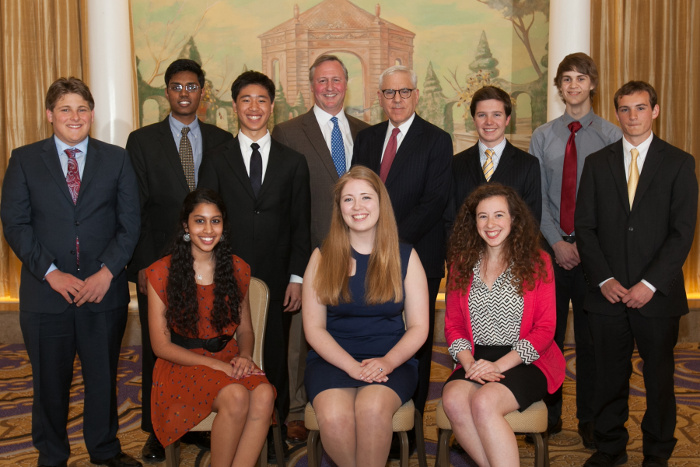 Back row from left: Jonathan Rasch, Zubair Khan, Lucas Lin, JA President & CEO Ed Grenier, competition sponsor David M. Rubenstein, Robert Young, David Proakis, and Jack Baker. Front row from left: Aditi Subramaniam, grand prize winner Mimi Robinson, and Isabella Boland. Not pictured: Chase Ammon.