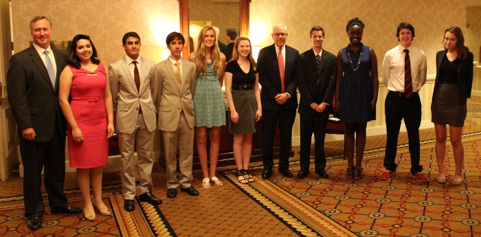 From left: JA President & CEO Ed Grenier, grand prize winner Daniela Hernandez-Fujigaki, Sepehr Zomorodi, Aras Scimemi, Isabel Hendrix-Jenkins, Caitlin Paul, competition sponsor David M. Rubenstein, Austin Wright, Nicole Obongo, Seamus Kirkpatrick, and Isabel Berg. Not pictured: Katie Thomas-Canfield.