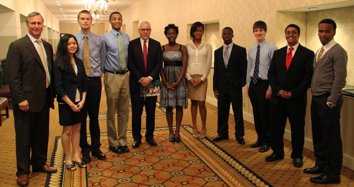 From left: JA President & CEO Ed Grenier, grand prize winner Fiona V. Lam, Matt G. Ashley, Sayo E. McCowin, competition sponsor David M. Rubenstein, Azeezat A. Adeleke, Raquel M. Reed, Enoch O. Ajayi, Sam R. Pearl-Schwartz, Sergio A. Ribeiro, and Marvin D. Millner. Not pictured: David Zhang.