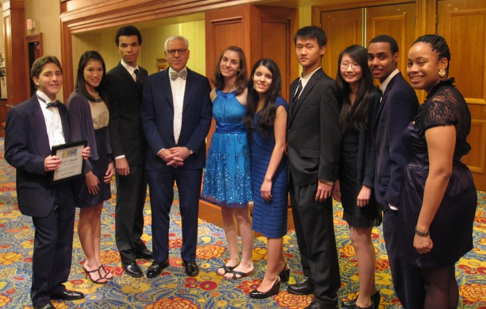 From left: grand prize winner Jacob S. Rasch, Stacey L. Zhou, Adam M. Middleton, competition sponsor David M. Rubenstein, Catherine S. Zucker, Gabriela D. Garcia, Jingran Wang, Nina J. Lu, Thomas W. Temesgen, and Lydia M. Evans.