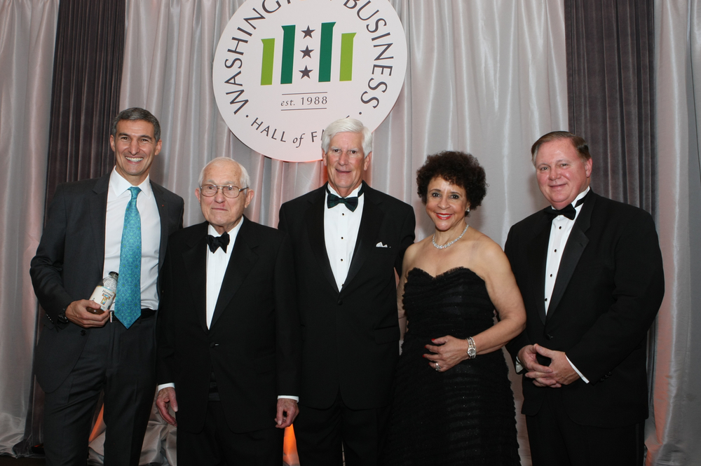 The 2015 Washington Business Hall of Fame Laureates are (from left) Seth Goldman (Honest Tea), John Toups (Planning Research Corporation, retired), Scott Wilfong (SunTrust Bank), Sheila Johnson (Monumental Sports & Entertainment, Salamander Hotels & Resorts), Joe Rigby (Pepco Holdings, Inc.)