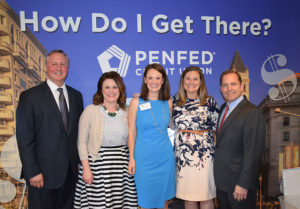 Left to right: Ed Grenier, president and CEO of JA of Greater Washington, Sarah Dohl, Vice President of Communications, JA of Greater Washington, Nora Wheeler, Director of Development, JA of Greater Washington, Rachael Doss, Vice President of Development, JA of Greater Washington, and James Schenck, president and CEO of PenFed Credit Union.
