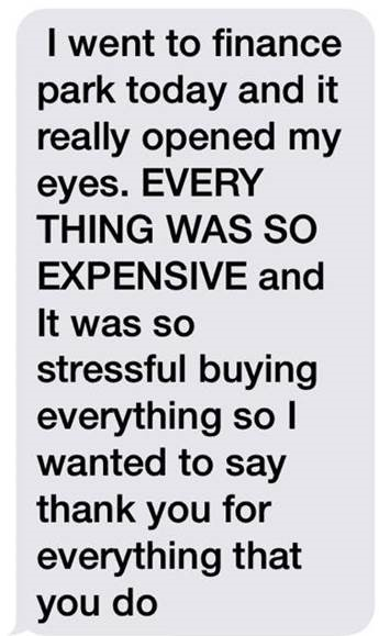 A text message from a JA Finance Park® graduate to her parent following her experience.