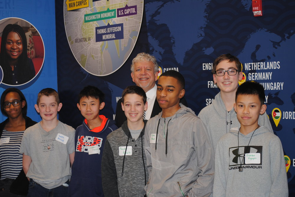 Marymount University President, Dr. Matt Shank, at JA Finance Park Fairfax County with Frost Middle School students.