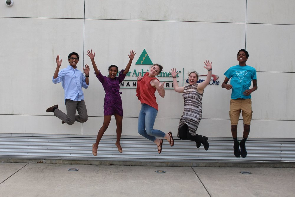 The 2017 JA Company Participants from left to right, Kurien Thomas, Zoree Jones, Emily Smith, Sasha Duckworth, and Srijay Kasturi.