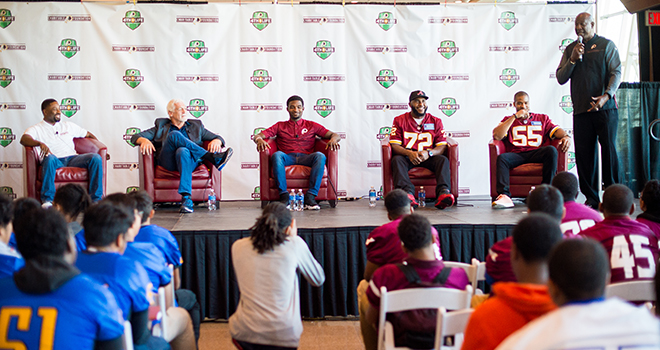 The Washington Redskins Charitable Foundation's 15th annual youth outreach program helps local high school football players prepare for life after the game.