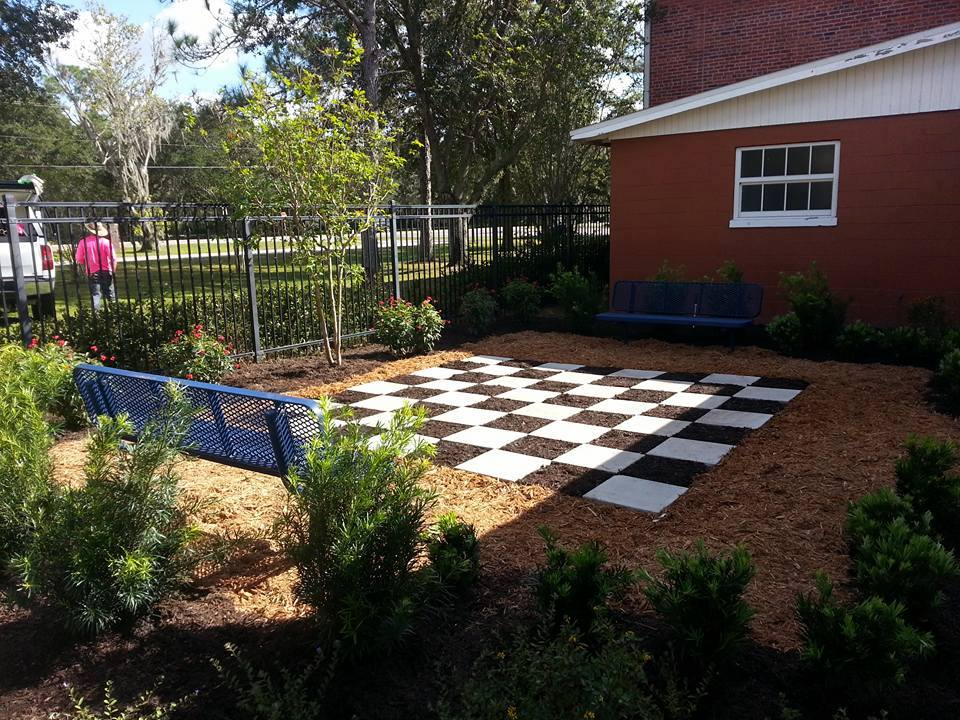 the chessboard in the Cork elementary Reading Garden.