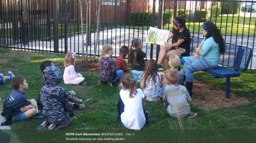Students enjoying the reading garden at Cork elementary installed November, 2017.