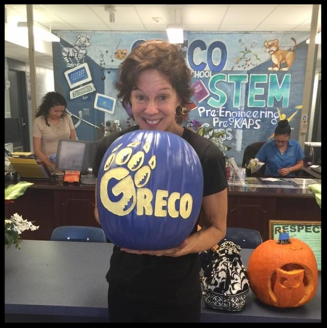 Beth Bosserman-Curts delivers pumpkins in a fundraiser to benefit the Greco Culinary arts students.