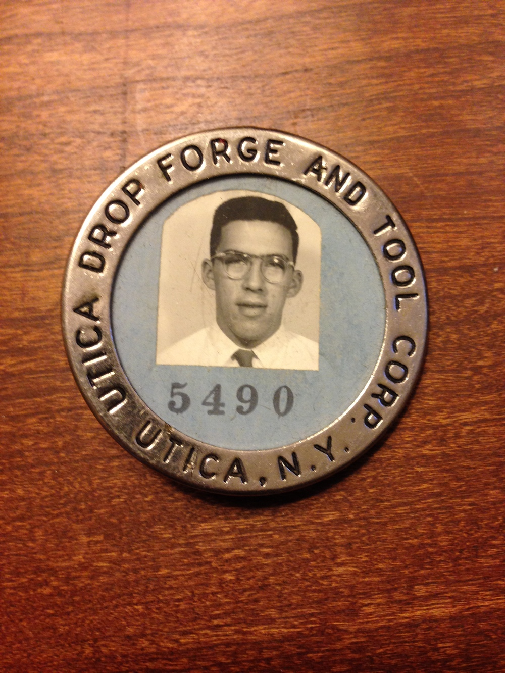 Katharine's Dad's Utica Drop Forge & Tool badge, circa 1953