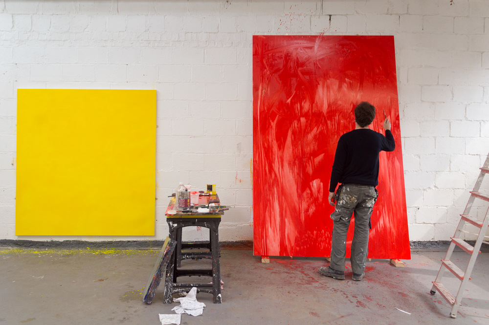 Robert West Working on the painting Series Into the Forest: Studio Shot 2014