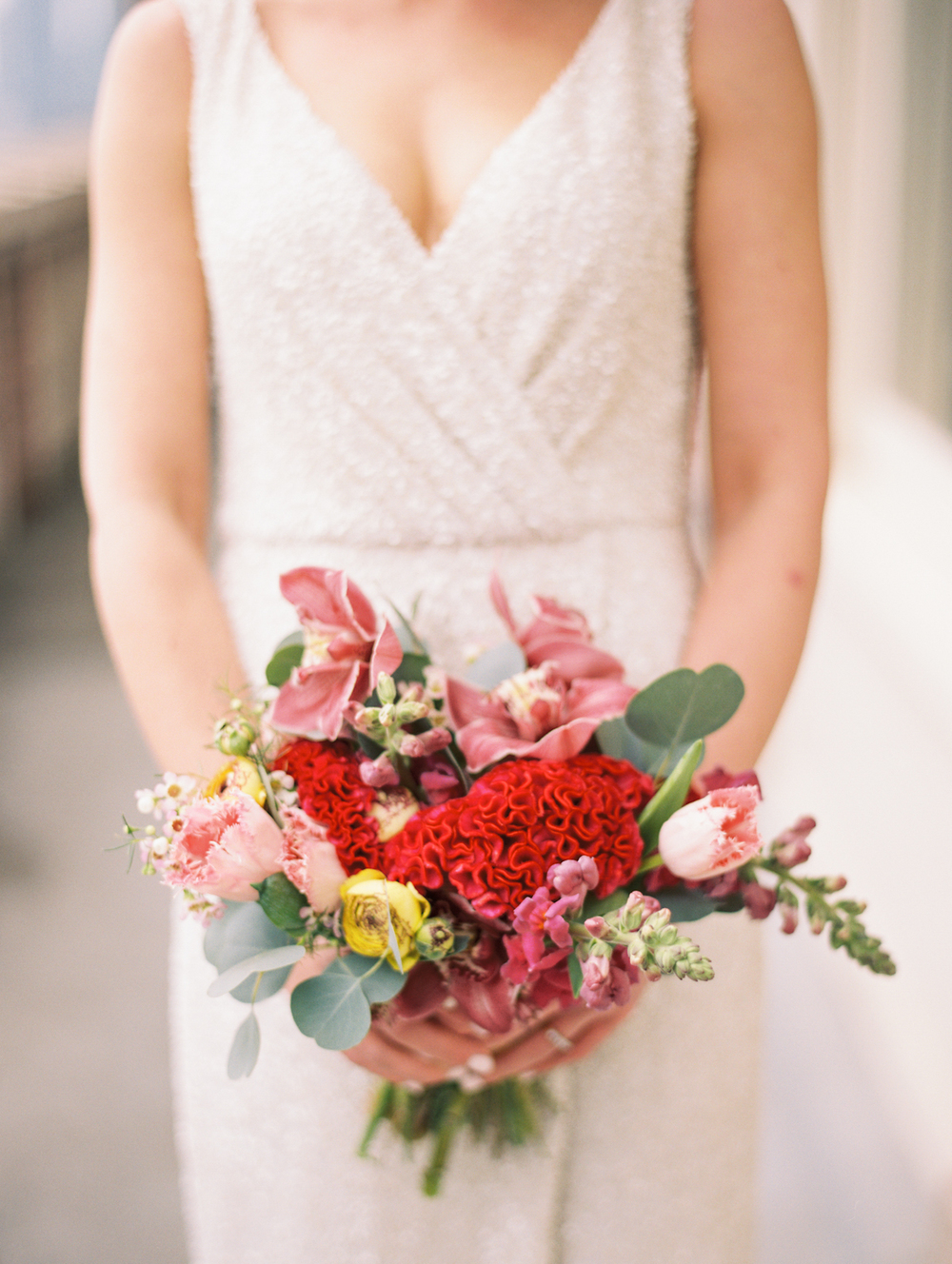 Red and Pink Organic Wedding Bouquet