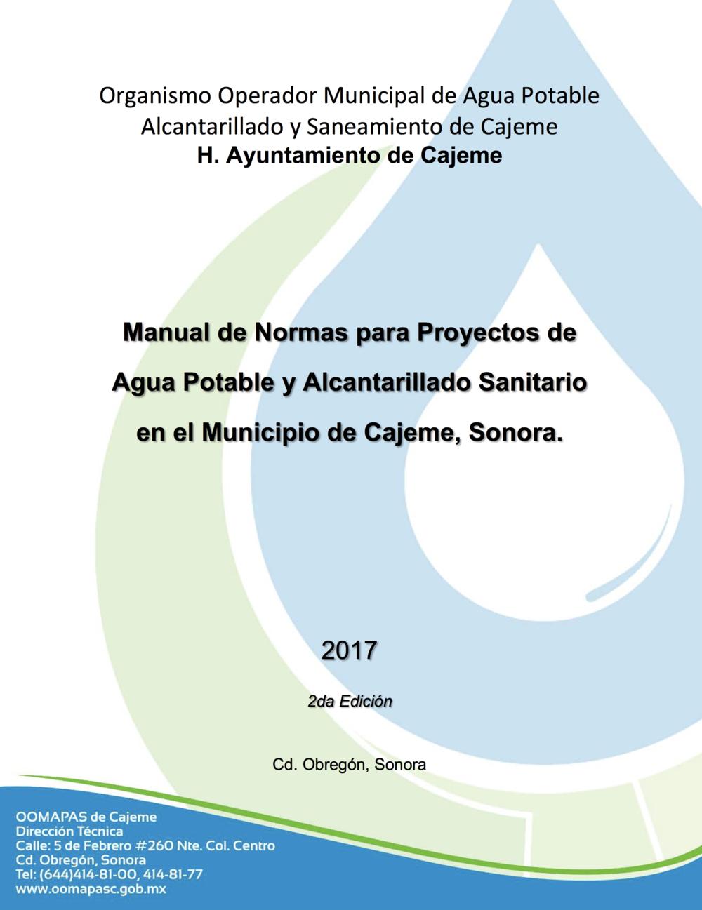 Manual de normas para proyectos de agua potable y alcantarillado sanitario en el municipio de cajeme