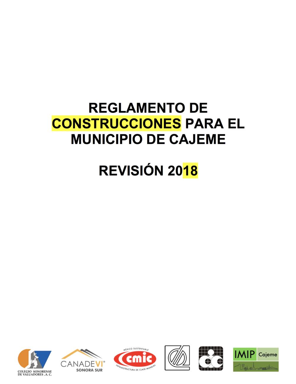 2018 Reglamento de construcciones cajeme