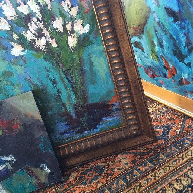 Mixed patterns and blues at the studio #melissaandersonstudio