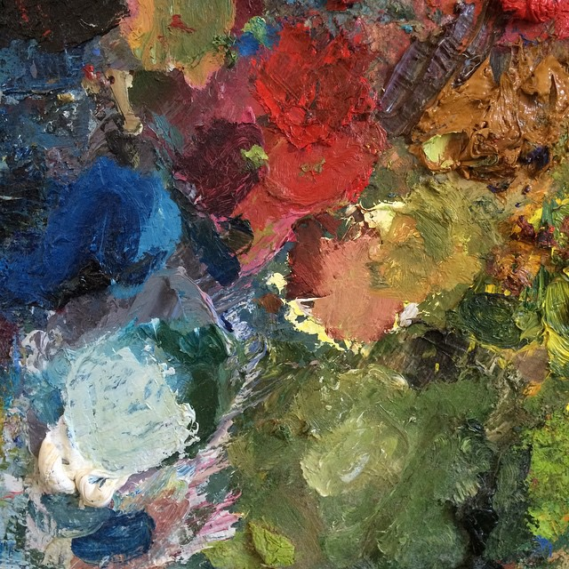 #Colors of my palette. Off to Charleston this weekend! #melissaandersonstudio #oilpainting #palette