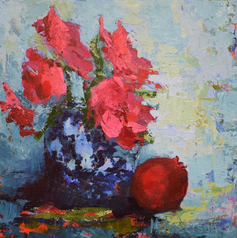 #camellias  Pomegranate Floral, 12x12 o/c