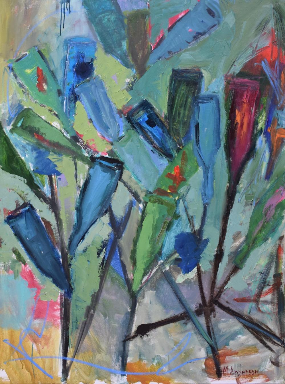 """Bottle Trees,"" 36x48"