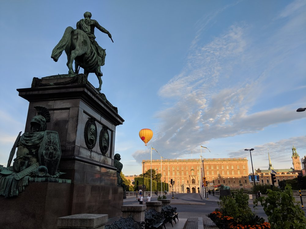 Hot air balloon over Stockholm's old city