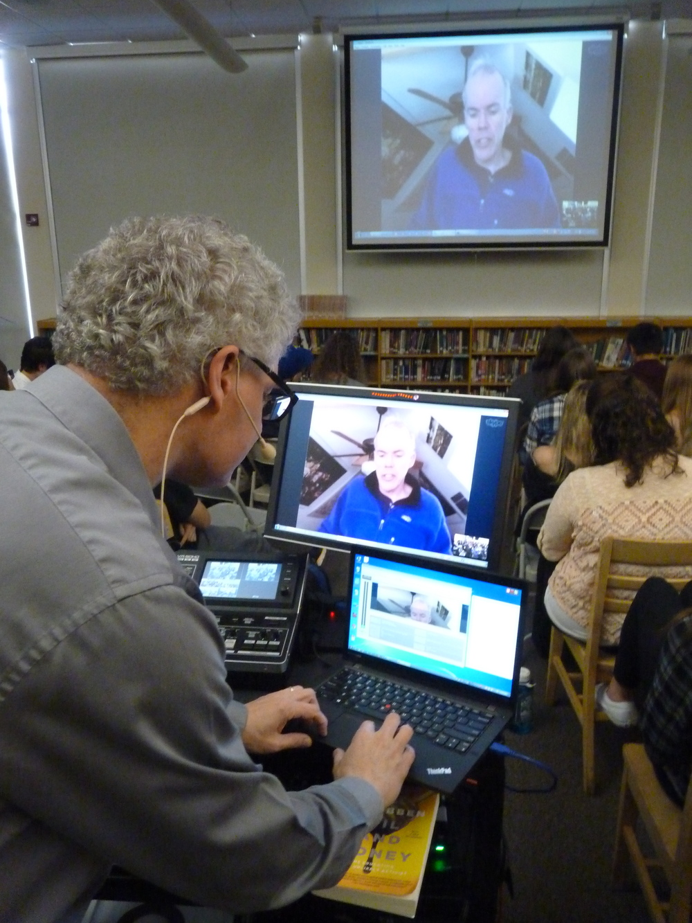 Bill McKibben, world renown environmental writer and founder of 350.org, skype chats with our students because a parent offered to provide the technology support to make it happen!