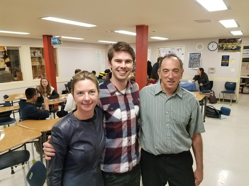 Principal Katy Dunlap and Mr. Gusting, Computer Science Teacher welcome back TL Alumni Jack Connley, CS Student, UC Berkeley