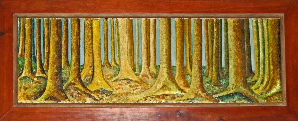 "Preacher's Grove $500 Lilith Maxine Hibbs 1960 Oil on canvas 16-1/2"" by 5-1/2"""