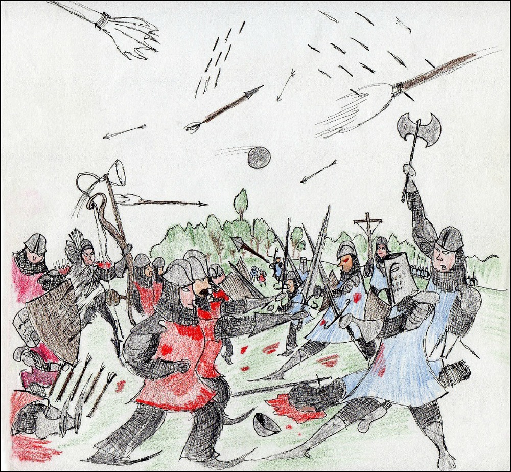 Battle              Spencer Rideout Pen and colored pencils photo print$28