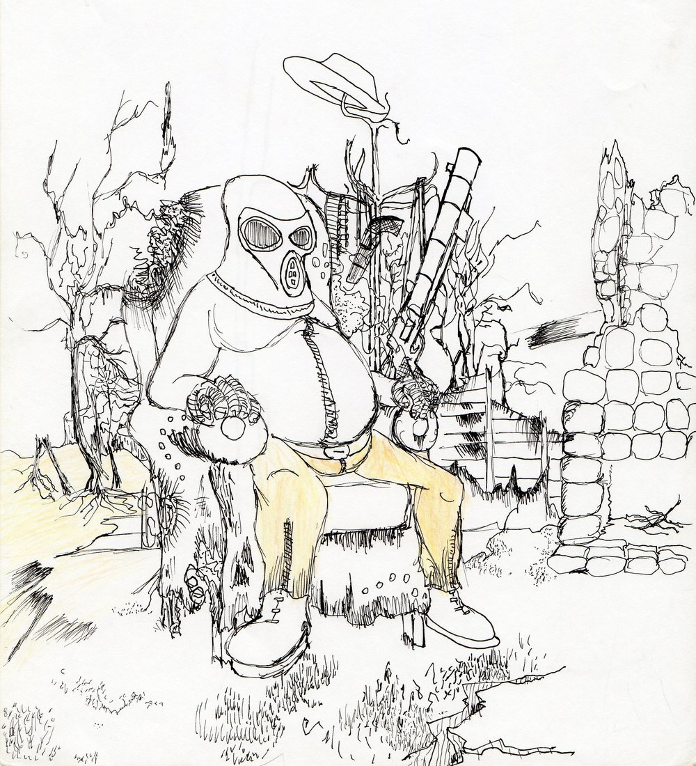 Gas Masked Man                   Spencer Rideout Pen and colored pencils photo   print $30