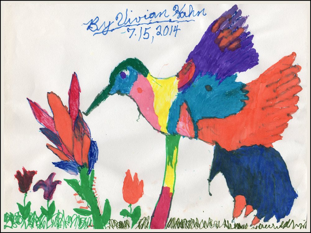Hummingbird    Vivian Hahn 7/15/2014 Colored Markers on paper prints $20/originals $50