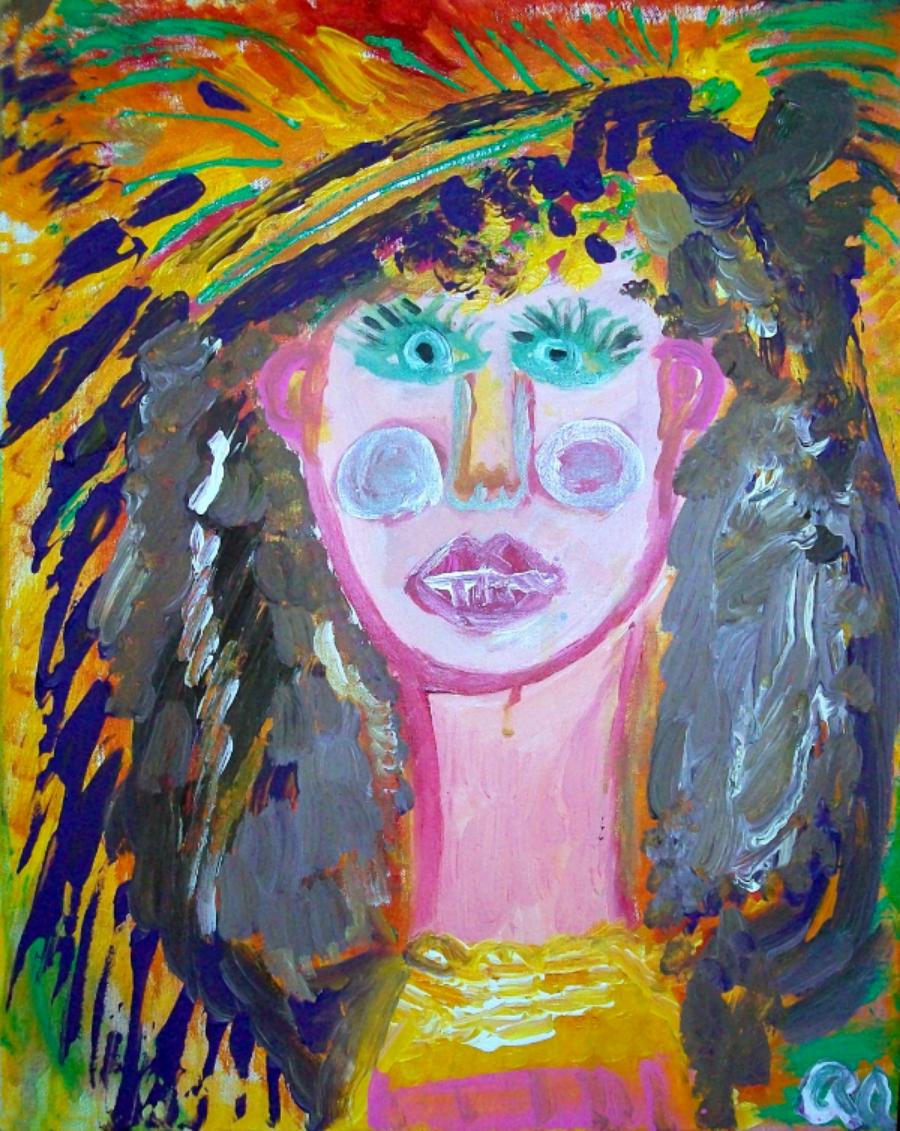 "Mardi Gras Rachael Alhassan 2014 Acrylic on canvas 16x20"" NFS, print $45"