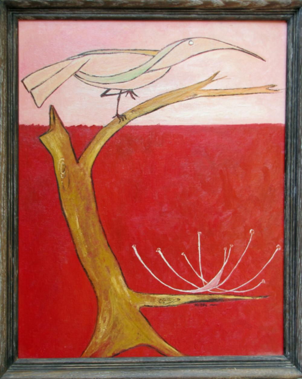 "Bird in a Tree $575 Lilith Maxine Hibbs c1970 Oil on hardboard 16"" by 20"""