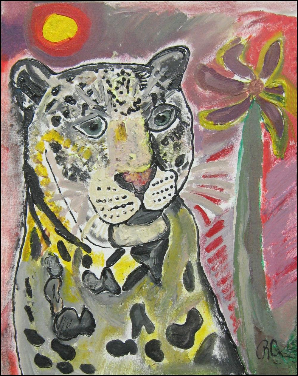 Leopard Rachael Alhassan 2014 Acrylic on Canvas, 18x14 NFS, print $40