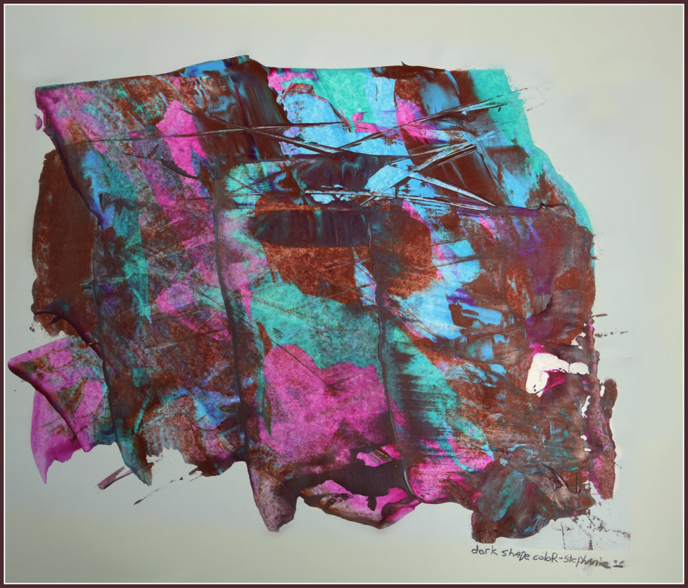 "Dark Shape  Stephanie Bedell   Acrylic on paper with scraping tool   Print on 11x17"" photo paper $30"