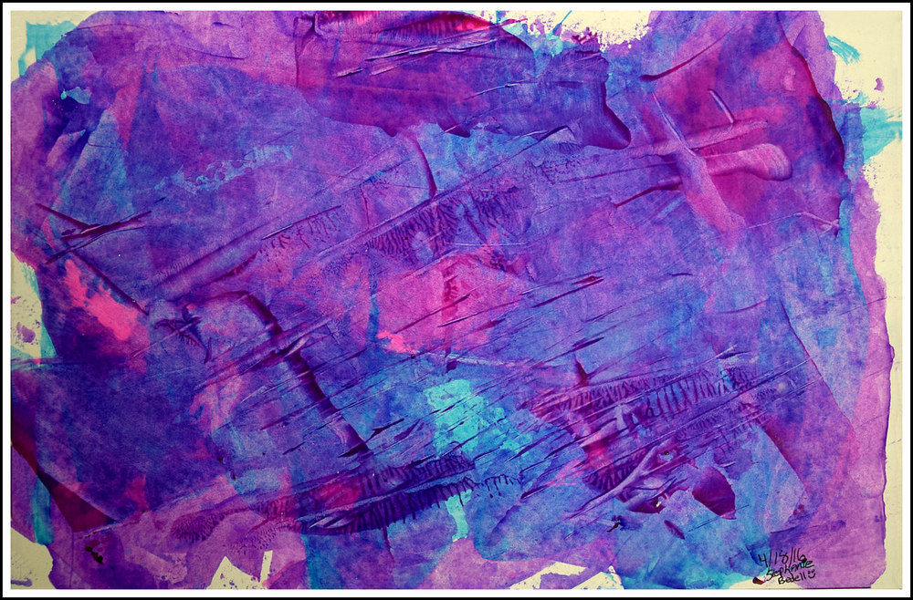 "Purple Haze  Stephanie Bedell   Acrylic on paper with scraping tool   Print on 11x17"" photo paper $30"