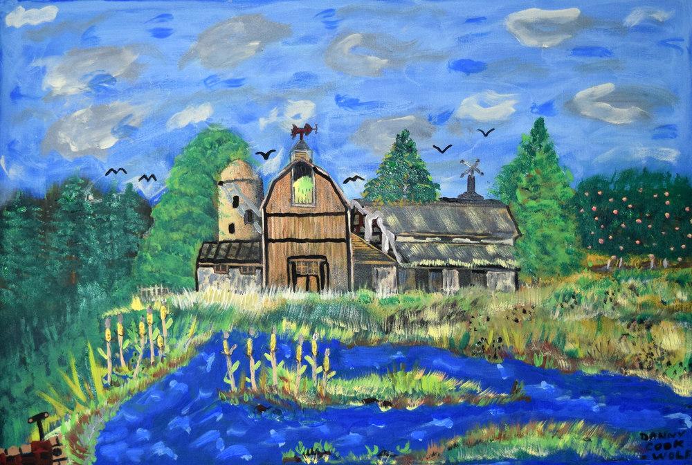 Farm Danny Cook Acrylic on Canvas 1x17 size photo print $35